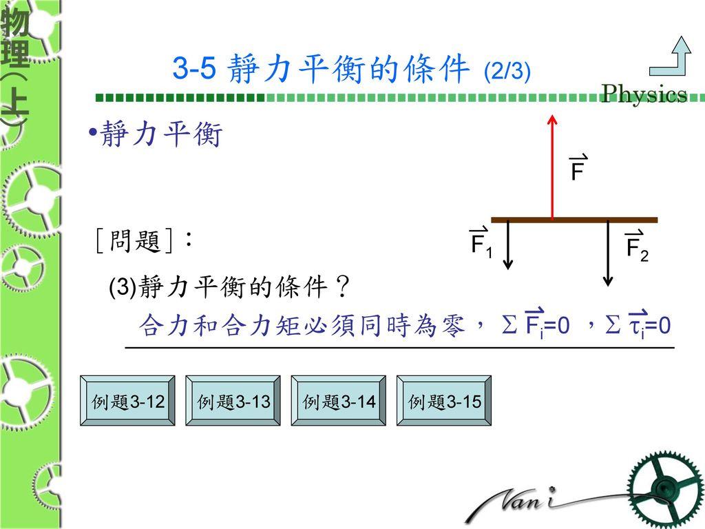 3-5 靜力平衡的條件 (2/3) 靜力平衡 [問題]: 合力和合力矩必須同時為零,  Fi=0 , ti=0 F F1 F2
